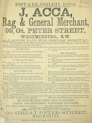 Advertisement for J Acca, rag & general merchant